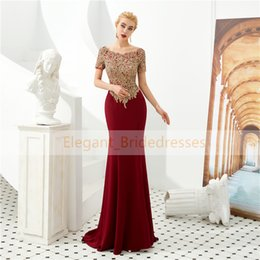 $enCountryForm.capitalKeyWord Australia - Burgundy Evening Dresses 2019 Mermaid Evening Gown Gold Applique Beaded Prom Dress Long Formal Evening Gown Robe de Soiree