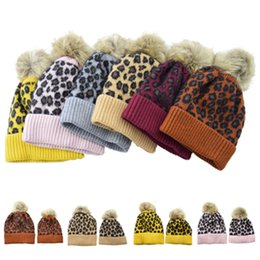 baby kids earflap hat Australia - family Beanies Leopard warm fleece Soft Skull Cap pom pom baby Knitted hats Faux fur ball winter hat knit kid Earflap Cap T2C5067