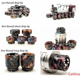 wide bore wood drip tip UK - 3 Styles 510 810 Thread Stable Wood resin Material Drip Tips Wide Bore Mouthpiece for TFV8 Prince 528 TFV8 Baby Alpha Vape DHL
