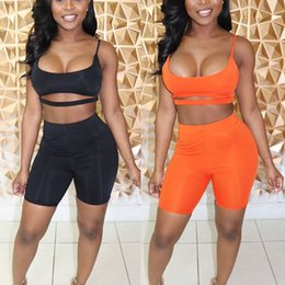 women black shorts wholesale NZ - Sexy Short Two Piece Set Crop Tops and Biker Shorts Grey Black Bodycon Matching Sets Summer Clothes for Women