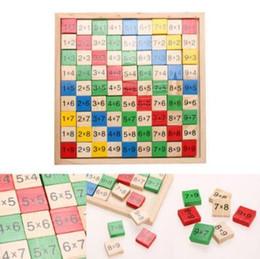 Kids Blocks Wholesale Australia - Multiplication Table Math Toys 9x9 Double Side Printed Board Colorful Wooden Figure Block Kids Educational Toys Party Favor CCA11075 10pcs