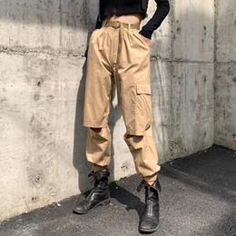 $enCountryForm.capitalKeyWord Australia - 2019 Autumn Women's Overalls Cargo Pants Hole Design Hip-hop Pants Lady Cotton Trousers Pencil Pants C4948