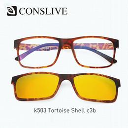 35691de9755d 2 in 1 Magnet Eyeglasses Full Rim Optical Eye Frame Men Myopia Eyeglasses  With Clip on Sunglasses Polarized Sun Glass