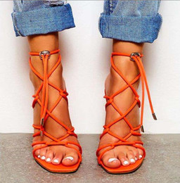 woman black sandals pu stiletto heels NZ - Size 35 To 42 sexy ladies synthetic suede ankle wrap cross strappy stiletto heels designer gladiator sandals black orange 11cm