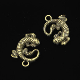 $enCountryForm.capitalKeyWord UK - 40pcs Charms gecko lizard Antique Bronze Plated Pendants Fit Jewelry Making Findings Accessories 31*24mm