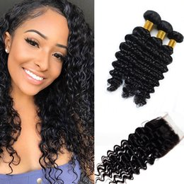 Discount inch indian deep wave hair - Brazilian Deep Wave Human Hair Bundles with Closure 100% Unprocessed Virgin Hair 3 Bundles with Lace Closure Natural Col