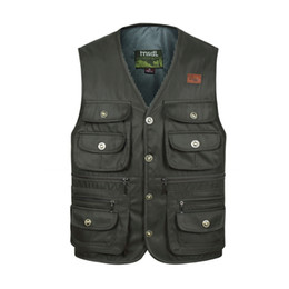 $enCountryForm.capitalKeyWord NZ - Men Multi Pocket Button Vest Summer Fashion Cargo Photographer Work Black Green Male Sleeveless Jacket Colors Waistcoat C190420