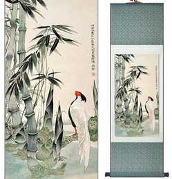 scroll paintings Australia - Birds And Bamboo Painting Home Office Decoration Chinese Scroll Painting Bamboo Paintingprinted Painting