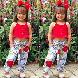 Summer Clothes Uk Australia - UK Summer Toddler Baby Girl Clothes Sleeveless Top Crop Floral Pants Outfits Set