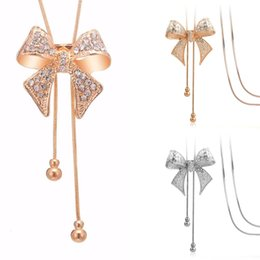 $enCountryForm.capitalKeyWord Australia - 4 Pcs   Lot Rhinestone Gold Silver Alloy Bow Tassel Long Sweater Bow Necklace Fashion Vintage High Quality Female Design False Collar Neckla
