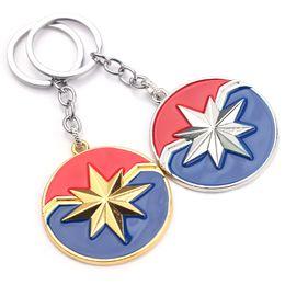 $enCountryForm.capitalKeyWord Australia - Hot The Captain Marvel Logo Keychain Fashion Metal Key Chain Pendant Key Ring Men Gift Movie Jewelry Wholesale