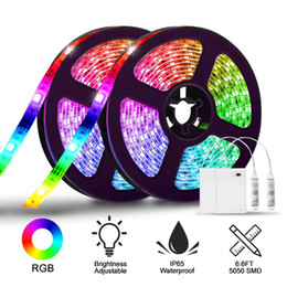 Dc Pack Australia - 2 Pack LED Strip Lights Battery Operated RGB SMD5050 Waterproof Rope Lights Color Changing Flexible LED Strip Kit for Home Bedroom DIY Party