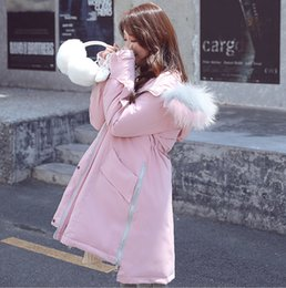 pink down coats for women Canada - Fashion Fur Hooded Warm OverCoat Women Down Jacket High QualityOutwear Drawstring Jacket Long Coat for Winter