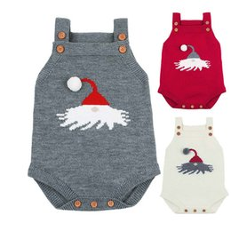 Toddler Christmas Boy Australia - Christmas Knitted Baby Bodysuit Newborn Infant Toddler Hot Summer Body Child Kids for Boys Girls B0021 Body Suit 3 Colors Strap Shoulder
