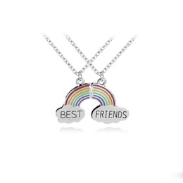 $enCountryForm.capitalKeyWord Australia - New Best Friends rainbow necklaces For women men Stitched creative Pendant chains Boy Girls friendship Jewelry Gift