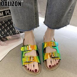 flat mirrors NZ - Europe Style Summer Women Metal Buckle Casual Peep Toe Thick Sole Loafers Mules Lady Mujer Mirror Plane Flat Slippers Shoes R295