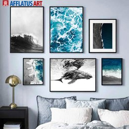 blue sea paintings Australia - Blue Sea Black White Wave Beach Whale Wall Art Print Canvas Painting Nordic Posters And Prints Wall Pictures For Living Room