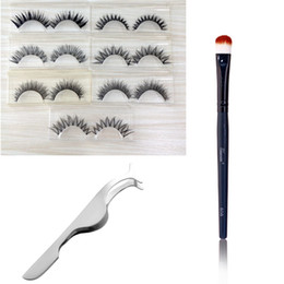 lash extension designs Australia - 7 Pairs False Eyelashes Mix 7 Designs Eyelashes Fake Lashes Makeup Beauty Kit Eyelash Extension Faux Lash Tweezers Make Up Brush