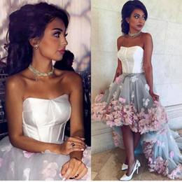Flower Hi Lo Evening Gowns Australia - 2017 Vintage Hi Lo Prom Dresses Strapless 3D Flowers Tulle Corset Bustier Dress Backless Gray Evening Gowns Formal Dresses