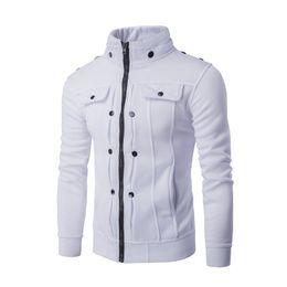 $enCountryForm.capitalKeyWord NZ - zipper design fleece jacket nail fold button Men's new Hoodies hot personality favors overalls sportswear uniforms White gray black brown