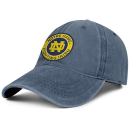 Fighting Australia - Notre Dame Fighting Irish Round Logo blue mens and womens Denim hats water scrubbing fishing caps styles fitted One Size Embroidered Dad cap