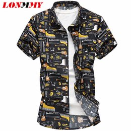 $enCountryForm.capitalKeyWord Australia - Lonmmy 6xl 7xl Floral Mens Shirts Blouses Casual Guitar Pattern Punk Style Short Sleeve Flower Shirts Men Clothes 2018 Summer Y19071801