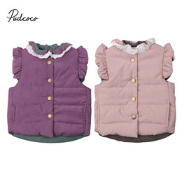 Discount top winter baby girl year - 2019 Brand Winter Baby Girls Coat Jacket Sleeveless Vest Fashion Bow Back Lace Warm Outerwear Tops Age 6M 12M 1 2 3 4 Ye