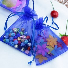 drawable bags blue Australia - 500pcs lot,5x7cm Drawable Organza Bags Royal Blue Wedding Christmas Gift Bags Candy Jewelry Packaging Organza Bags & Pouches