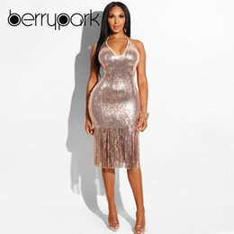 BerryPark High Quality Gold Sequin Dress 2019 Women Tassel Nightclub Dress  Spaghetti Strap Halter Backless Bodycon Club Dress C18121701 c34dd850a
