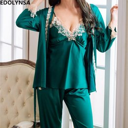 $enCountryForm.capitalKeyWord NZ - Satin Robe Gown Set Three 3 Pieces Women Sleepwear 2018 Autumn Nightwear Soft Sikly Pajama Set Sexy Negligee Lace Gown H662