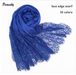 Plain Cotton Scarfs Australia - Popular lace edges scarf hijab woman plain maxi shawl wrap flower white lace foulard soft cotton Muslim hijabs scarfs
