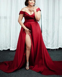 Nude Red Lining Dress Australia - Dark Red Plus Size Evening Dresses 2019 New Hot Selling Custom A-Line Satin Sexy High Split Off-the-shoulder Formal Prom Party Gowns E052