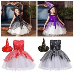 Wholesale girl tutus for dance for sale - Group buy Girls Halloween Costume Dresses with Witch Hat Cosplay stage dance Costume for Girls Kids TUTU bowknot Dress Children Clothing FFA2726