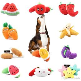 $enCountryForm.capitalKeyWord Australia - 12CM Stuffed Fruit Rainbow Bone Star Vegetable Chicken Squeak Toy Dog Puppy Plush Toys Red Pepper Eggplant Radish Duck Sounding pet toys