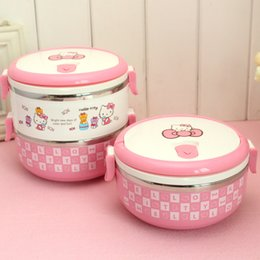 Wholesale Keythemelife Thermo Lunch Boxs Hello kitty Portable Food Container PP Stainless Steel Kids Lunchbox for Students D5 C18112301