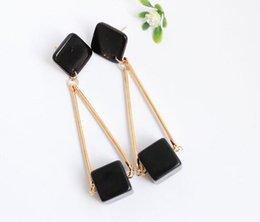 Alphabet Blocks Australia - new Hot style Korean version tassel series polished stone block temperament ear stud personality simple fashion classic designer earrings