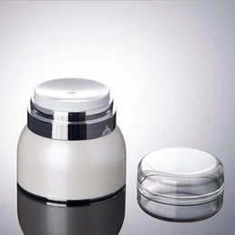 airless jars Canada - Acrylic Cream Jars 30G 50G Press Pump Airless Cream Emulsion Bottles Mask Skin Care Products Wholesale 50pcs lot