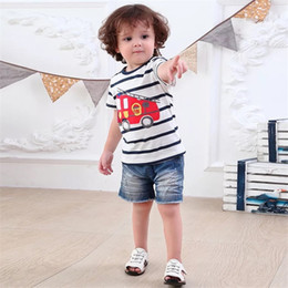 Plaid Tee Kids Australia - Casual Summer Designer Baby Kids Girls Tees Embroidery Cotton Boys Girls Tops Bird Embroidery Stripes Car Girls Short Sleeve T-shirts 2-7T