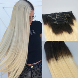 $enCountryForm.capitalKeyWord Canada - 120g 7Pcs Human Hair Extensions T1b 613 Ombre Color Black To Russian Blonde Clip In Human Hair Extensions Highlights