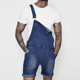 Streetwear Denim Bib Overall Shorts Men Washed Shorts Jeans Jumpsuit Letters Printed Casual Short Sleeve Suspender Short Pants In Many Styles Men's Clothing
