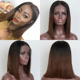 $enCountryForm.capitalKeyWord Australia - Full front Lace medium Human Hair Wigs Ombre dark brown Straight Brazilian Virgin Hair 150 Density Natural Hairline Glueless preplucked
