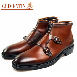grimentin shoes UK - GRIMENTIN 2020 newest fashion men ankle boots genuine leather orange black Italian male boots for office dress mens shoes