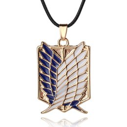 Titan Pendant Australia - Attack on Titan Necklaces Pendants Wings Of Liberty Metal Unisex Leather Chain Fashion Jewelry Pendant Necklace