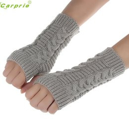 Hand gloves Half fingers online shopping - Fashion Knitted Warmer Mittens Wrist Gloves women protect hands full finger guantes moto motocicleta guantes ciclismo NOV