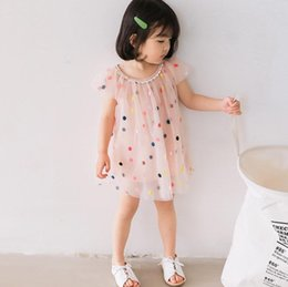 $enCountryForm.capitalKeyWord Australia - New Summer Baby Girls Lace Dress Kids Colorful Embroidery Dots Tulle Dress Children Girl Princess Dresses 4656