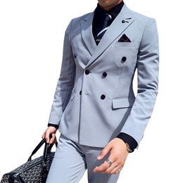 double breast dresses NZ - 3-piece Set ( Jacket + Vest + Pants ) High-end Boutique Men's Double-breasted Formal Suit Groom Wedding Dress Banquet Suit