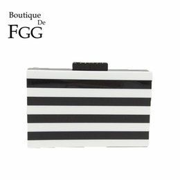 $enCountryForm.capitalKeyWord Australia - Boutique De Fgg White & Black Striped Women Acrylic Box Clutch Evening Purse Bags Ladies Chain Shoulder Handbags Crossbody Bag Y190626