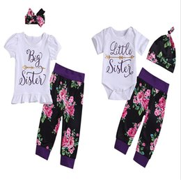 China New Baby Girl Sister Sets INS Fashion Kids Letters Tops+Flower Pants+ Headband 3pcs Set Suits Outfits Sets Children Clothing cheap sisters clothing set suppliers
