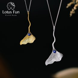 $enCountryForm.capitalKeyWord Australia - Lotus Fun Real 925 Sterling Silver Natural Lapis Handmade Fine Jewelry Ginkgo Leaf Pendant Without Chain Acessorios For Women J190613