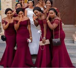 $enCountryForm.capitalKeyWord NZ - Big Discount Mermaid Grape Bridesmaid Dresses Sweep Train Chiffon Off The Short Sleeve Lace Long Girls Dresses For Wedding Party